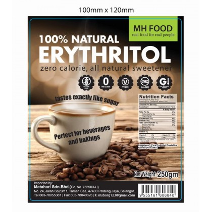100% Natural Erythritol (250g/pack)