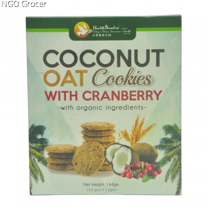 Health Paradise Coconut Oat Cookies With Cranberry (144g/bag)
