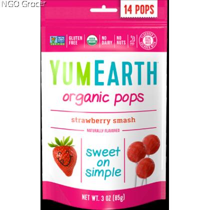 Yummy Earth Organic Lollipops-Strawberry 14ct (85g/pkt)